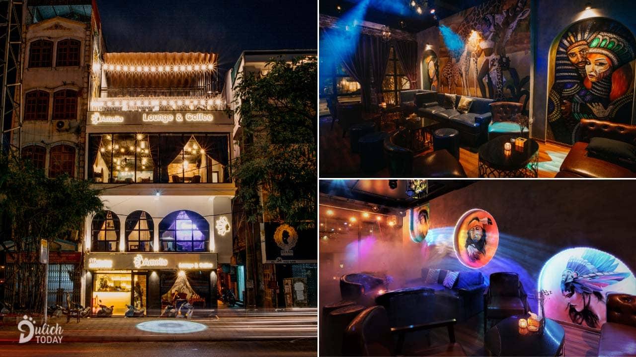 Amelia Lounge & Coffee có 4 tầng với sân thượng thoáng mát nhìn xuống mặt đường Hào Nam