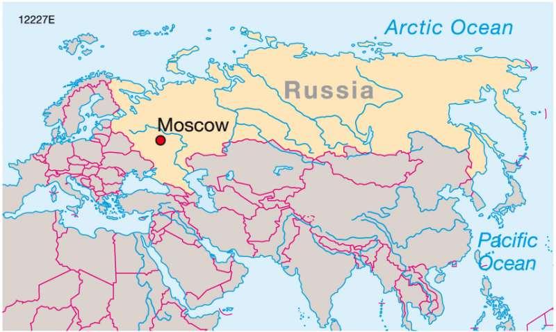 Vị trí của Moscow trên bản đồ nước Nga