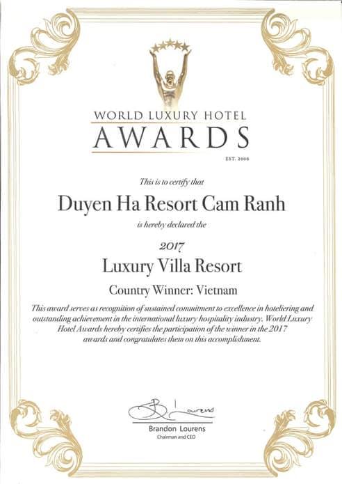 Chứng nhận của Duyên Hà Resort Cam ranh