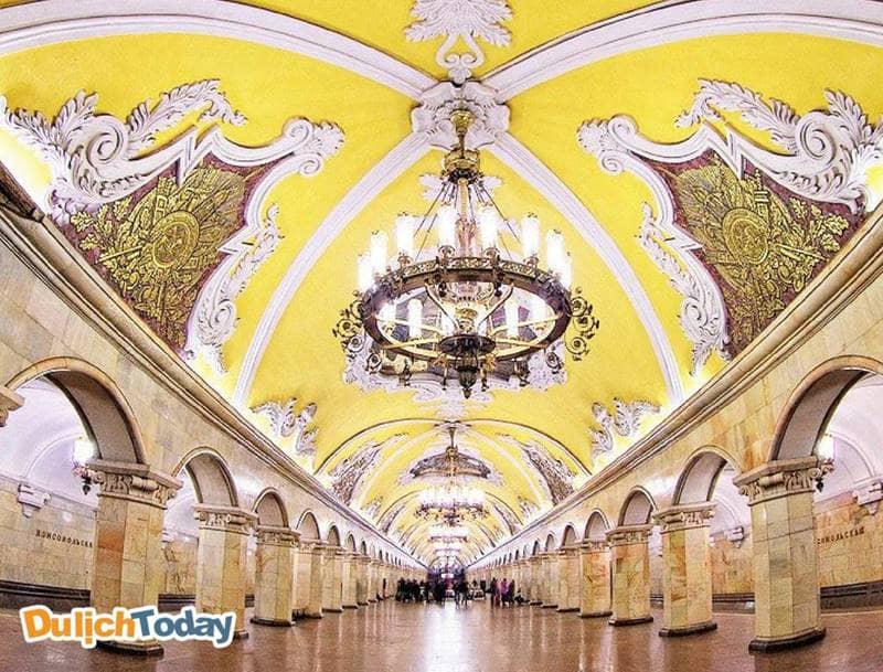 Ga tàu điện ngầm Moscow - công trình kiến trúc nghệ thuật ấn tượng