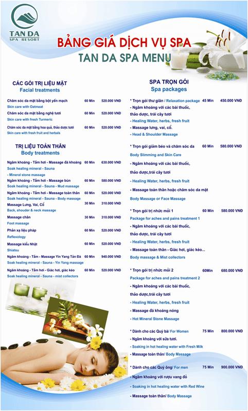 Bảng giá dịch vụ Spa tại Tản Đà Resort