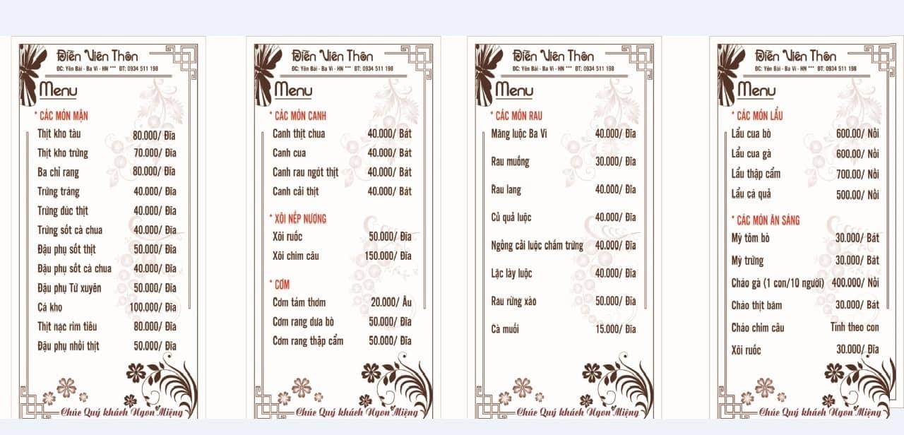 Thực đơn nhà hàng tại Zen Resort