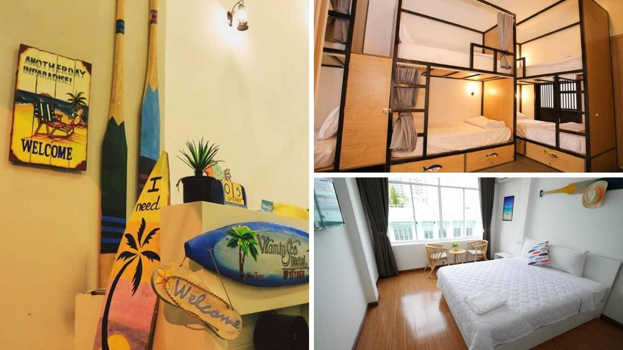 Không gian các phòng dorm và đôi tại Vitamin Sea homestay Nha Trang