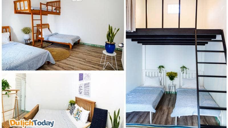 Phòng ngủ tại Peaceful House được trang trí khá nhẹ nhàng tạo thoải mái