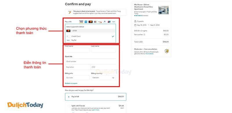 Chọn phương thức thanh toán trên Airbnb