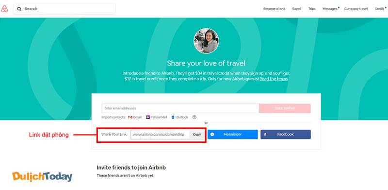 Chia sẻ đường link đặt phòng của bản thân qua e-mail, mạng xã hội