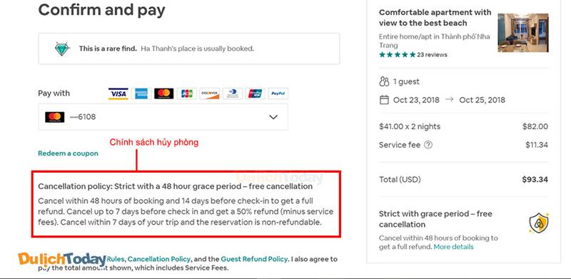 Chính sách hủy phòngAirbnb có sự khác nhau giữa các chủ nhà
