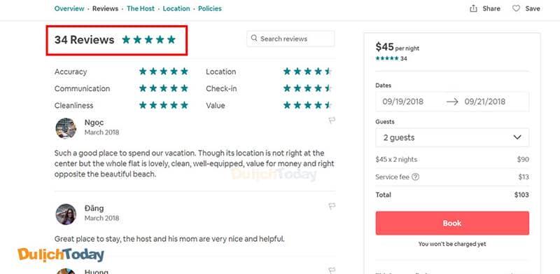 Đọc kỹ review trước khi đặt phòng Airbnb