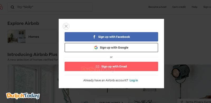 3 sự lựa chọn đăng ký tài khoản Airbnb