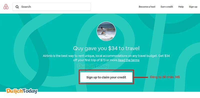 Đăng ký nhận khuyến mãi trên Airbnb