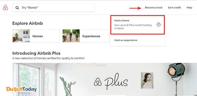 Chọn Become a Host >> Host a home để bắt đầu đăng phòng cho thuê