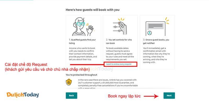 Chọn chế độ Book ngay lập tức hoặc Request (chờ chấp nhận từ chủ nhà)