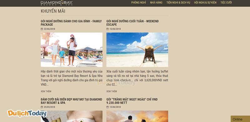 Đừng quên xem tin khuyến mãi và voucher trên website Diamond Bay