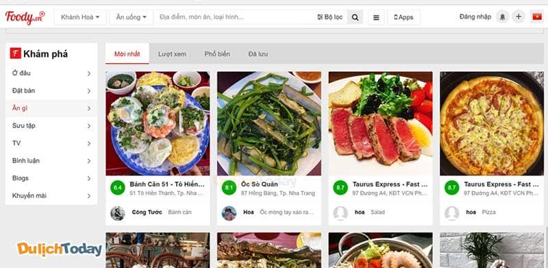 Foody - kênh ẩm thực nổi tiếng tại Việt Nam cung cấp hình ảnh, review, địa chỉ các món ăn/quán ăn