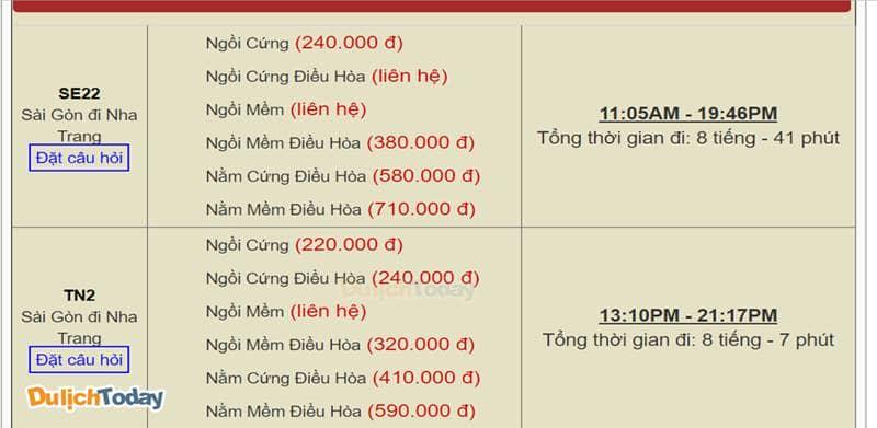 Bảng giá vé tàu hỏa từ Sài Gòn vào Nha Trang theo từng loại ghế