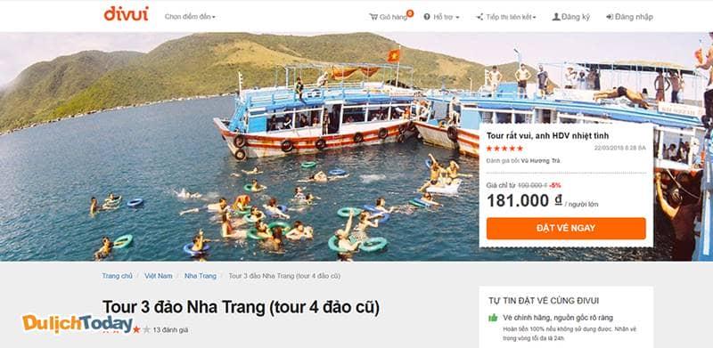 Tour 3 đảo Nha Trang giá chỉ từ 181.000 vnđ/người