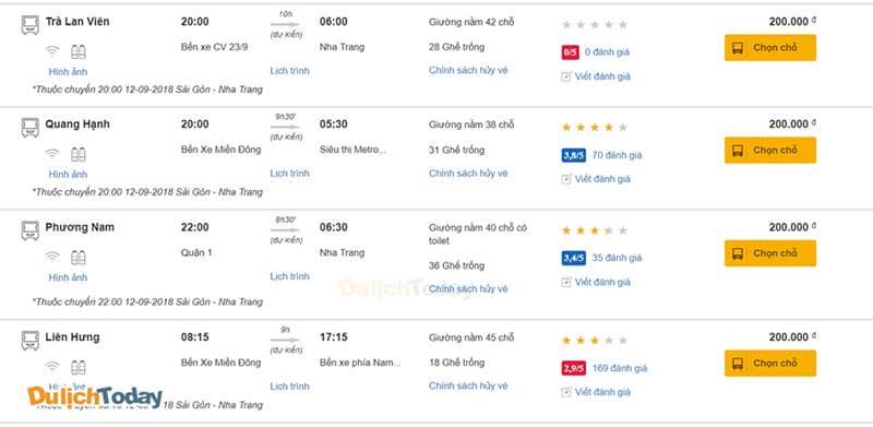 Giá vé tham khảo từ Sài Gòn đến Nha Trang