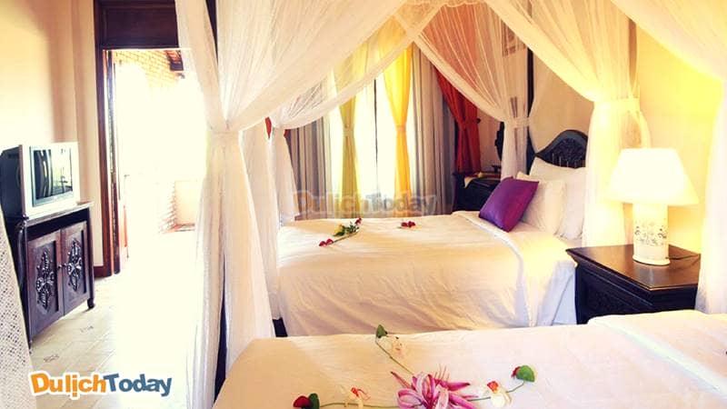 Phòng nghỉ được trang trí nhẹ nhàng với tiêu chí yên tĩnh, thoải mái được đặt lên hàng đầu
