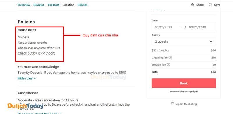 Đọc kỹ quy định của chủ nhà trên Airbnb