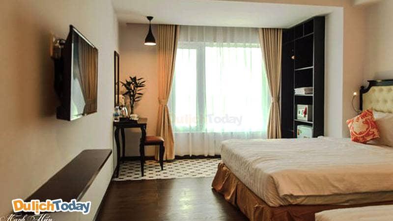 Các phòng tại Bellevue hotel 2 sao Nha Trang được trang trí với nội thất cơ bản