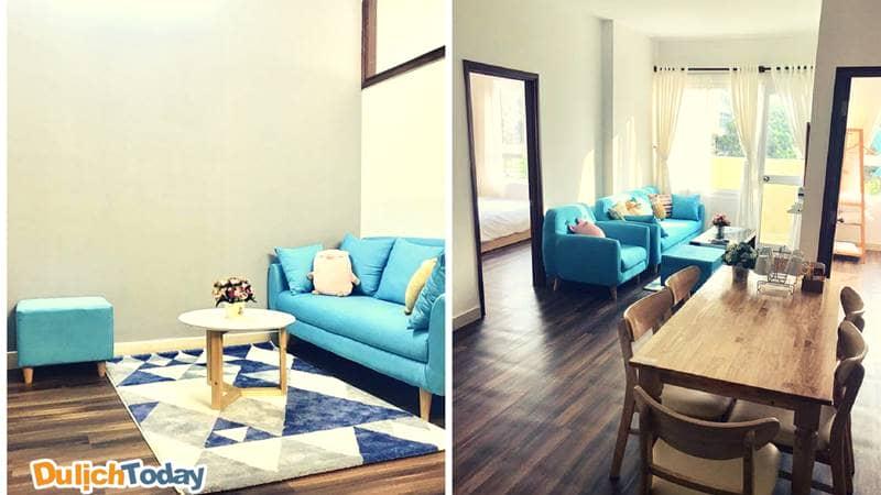 Căn hộ homestay này được thiết kế với đầy đủ các tiện nghi, thích hợp cho các gia đình hoặc các nhóm nhỏ ở khá thoải mái