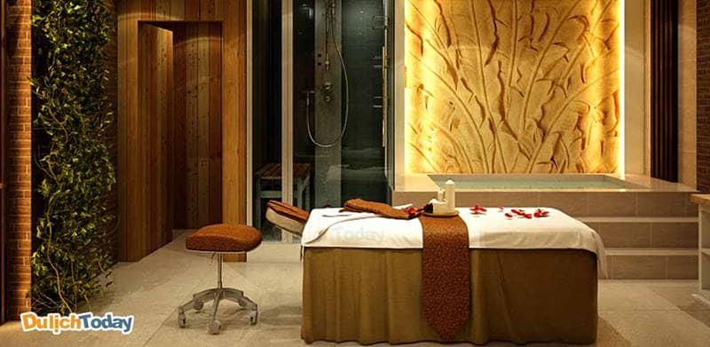 Thiết kế phòng massage lấy hay lấy tông màu nâu vàng, be làm chủ đạo