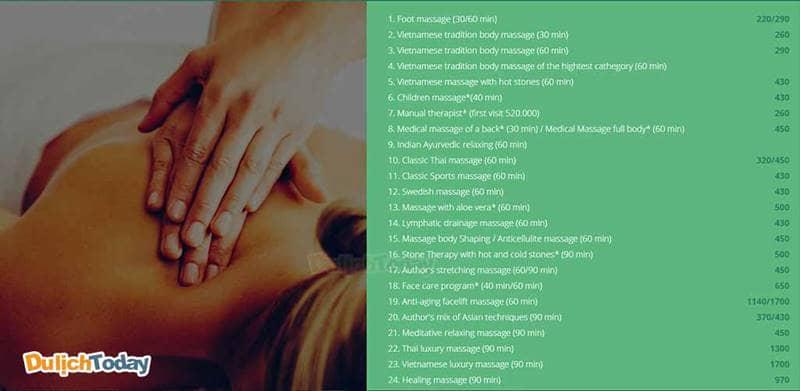 Thực đơn massage tại đây đa dạng và phong phú