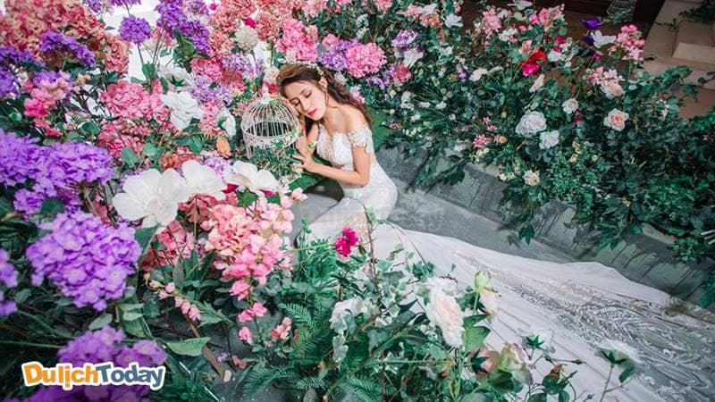 Phim trường có bối cảnh đẹp tràn ngập hoa của Rosa