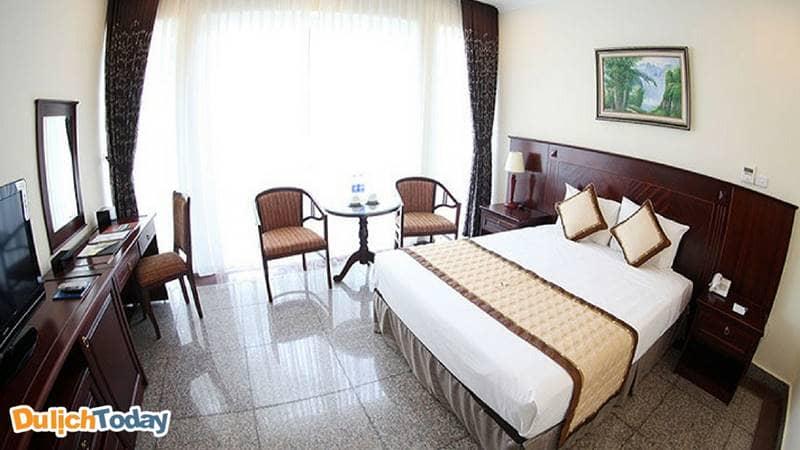 Phòng doublecủa khu khách sạn Sông Hồng Resort rất phù hợp với gia đình có con nhỏ