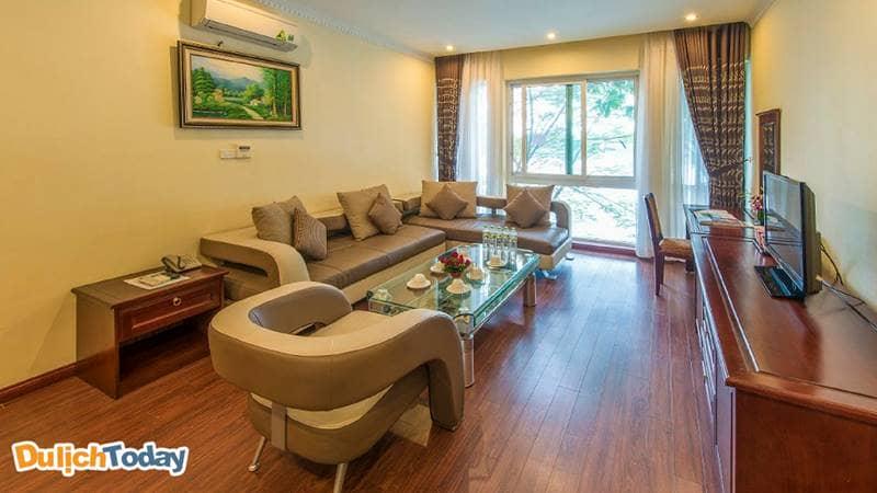 Phòng VIPcủa khu biệt thự ngoài quang cảnh nhìn ra hồ Đầm Vạc, các phòng này còn có trang thiết bị hiện đại và đẳng cấp