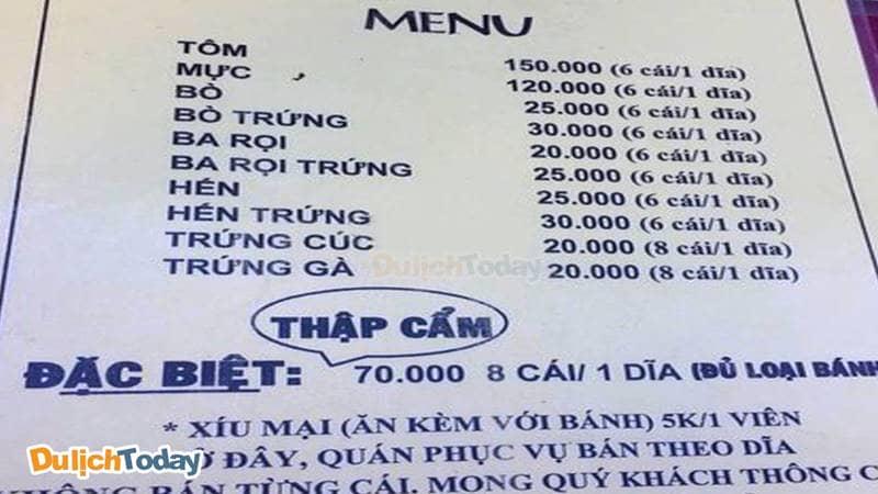Menu của quán Bánh Căn 51 Tô Hiến Thành - tp Nha Trang