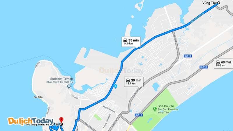 Đường đi từ Vũng Tàu đến khu du lịch Hồ Mây