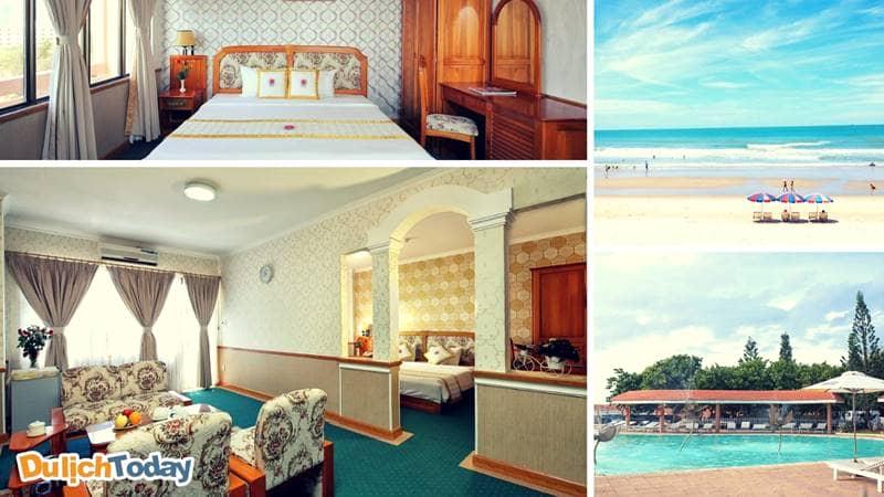 Bãi biển riêng, hồ bơi cùng các phòng nghỉ sang trọng trong khách sạn