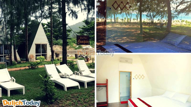 Các bungalow mini được xây dựng theo hình chóp nhỏ ẩn mình dưới những tán cây xanh trong khuôn viên rộng và lãng mạn với tầm nhìn thẳng ra biển
