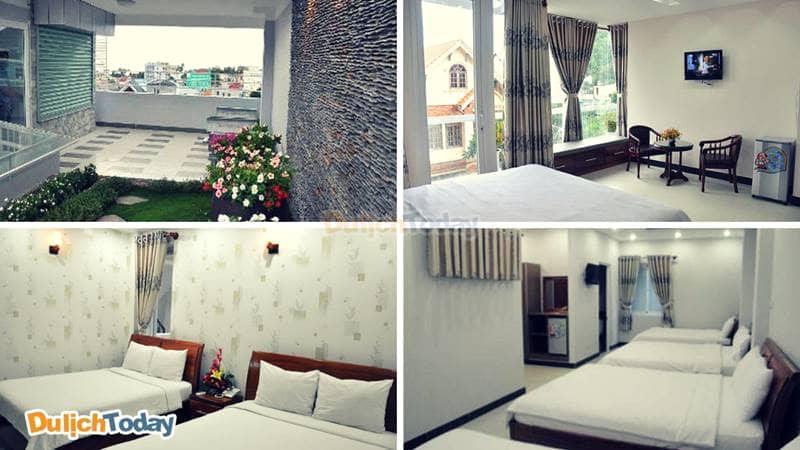 Tất cả các phòng và khu vườn nhỏ xinh trên tầng thượng có view đẹp của Sky Luck Hotel