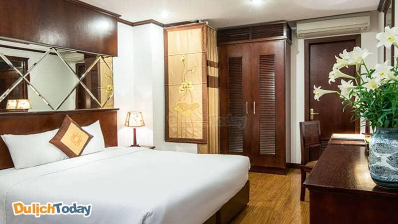 Thiết kế phòng nghỉ tại May De Ville Phố Cổ theo phong cách Á Đông truyền thống