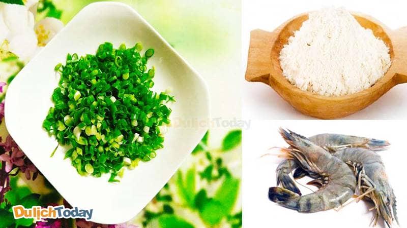 Nguyên liệu để làm bánh khọt đơn giản, dễ dàng mua được ở bất kì chợ nào