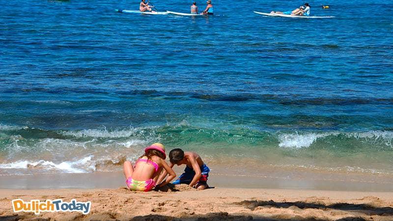 Các bé chỉ đào 1 cái hố cát ngay trên bãi biển là một lát sau sẽ có nước ngọt xuất hiện