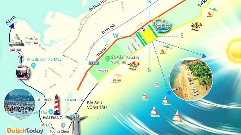 Bãi Sau có vị trí thuận lợi tại thành phố Vũng Tàu