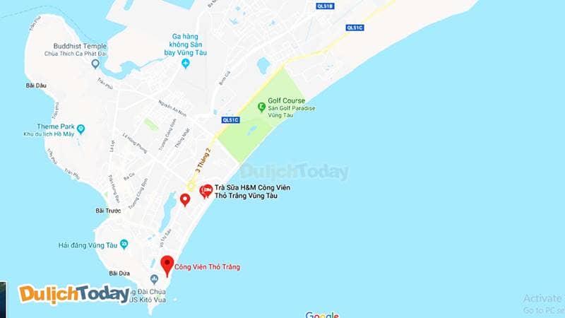 Vị trí công viên Thỏ Trắng trên bản đồ Google Map
