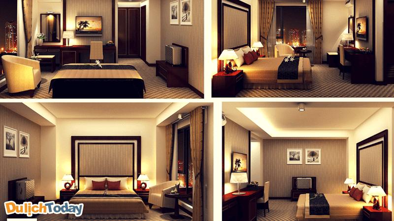 Lối kiến trúc phương Tây hiện đại cùng điểm nhấn là màu sắc vàng và cam rất tự nhiên bắt mắttrong mỗi phòng nghỉ tại Rex