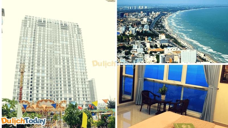 Khách sạn Sơn Thịnh nằm trong tòa nhà cao tầng nhất bãi Sau với tầm nhìn toàn bộ bãi Sau và Thành phố Vũng Tàu