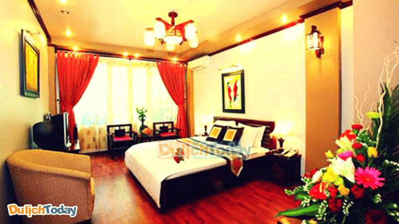 Phòng nghỉ với bài trí mang đến cảm giác ấm cúng cho du khách