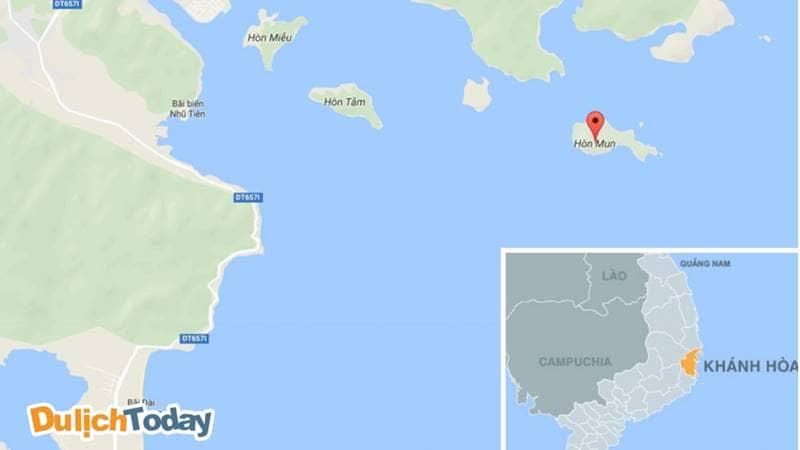 Vị trí của Hòn Mun trên bản đồ Việt Nam
