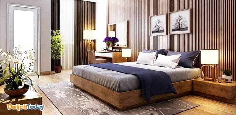 Tiêu chuẩn giường phòng ngủ của villa: giường đơn 0,9m x 2m; giường đôi 1,5m x 2m