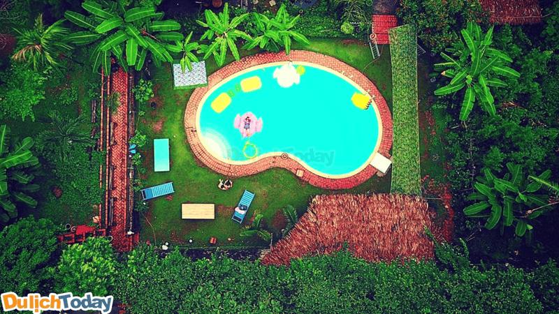 Toàn cảnh không gian sân vườn tại Banana and Rose Homestay