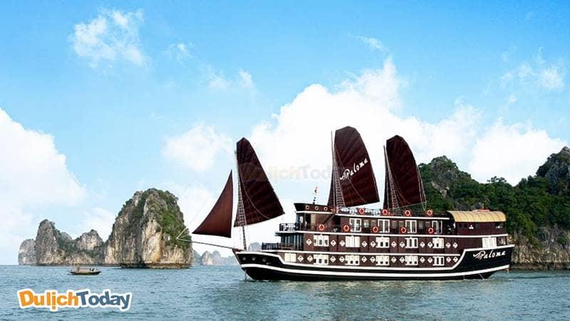Du thuyền Paloma vỏ gỗ nâu tối màu theo phong cách Trung Hoa