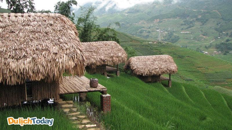 Bungalow ở Hmong Mountain Retreat có tầm nhìn xuống những thửa ruộng bậc thang xanh mướt