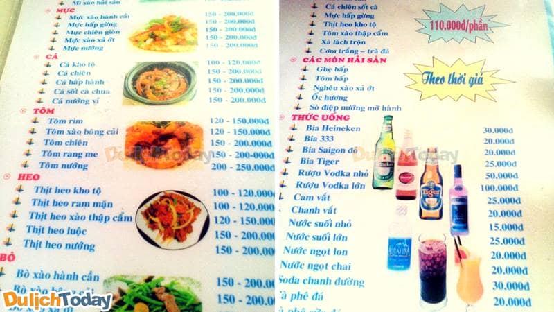 Thực đơn nhà hàng Hồng Hạnh 3