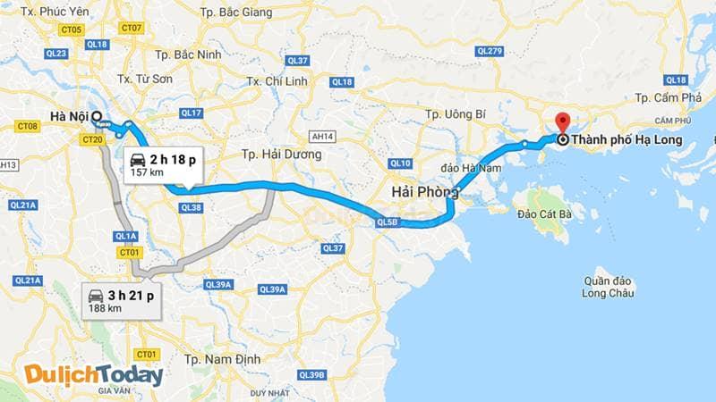 Thành phố Hạ Long chỉ cách Hà Nội 180km về phía Đông
